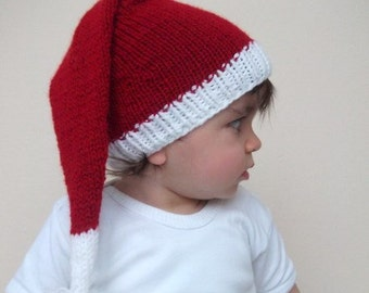 Baby Santa Hat -Christmas Newborn Hat,Photo Prop, Knitting  Baby Hat in Red and White