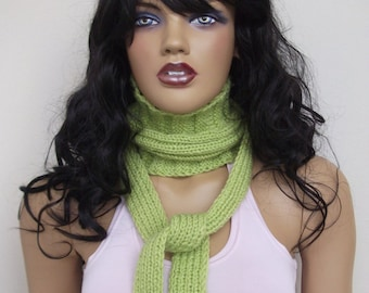 Pistachio green scarf or hair band / hand knit neck warmers
