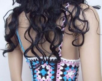 Summer crochet blouses-Organic cotton bustier-hippy crochet top braids -crochet summer apparel-unique tropical apparel-Sexy Lace blouse