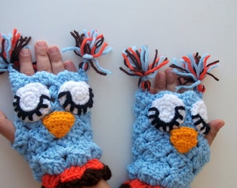 Blue Owl Mitten-Crochet Owl gloves-for Baby or Toddler-animal gloves