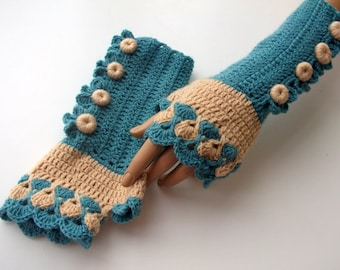 Oil Green and Camel Color Crochet Fingerless Gloves