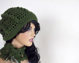 Pine Green slouch hat-berets