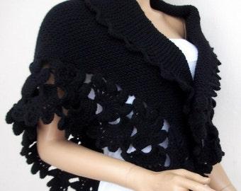 Beautiful Triangle Black Shawl