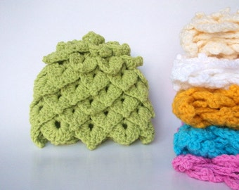 Spring Color  Crocodile Stitch Baby Hat - for Baby or Toddler-Your choice of color-Leaf Hat-Newborn size