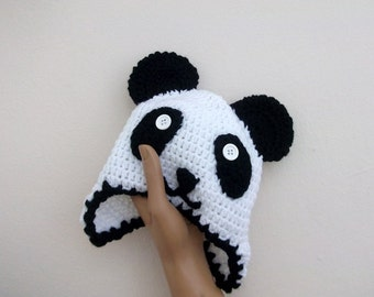 Black and White Panda Hat with Ear Flaps-Panda Hat with Earflaps-Crochet Panda Hat