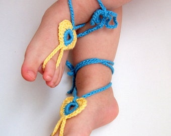 2 PAIRS-Turquoise and Yellow Heart Barefoot Baby Sandals-Crochet Baby Barefoot Sandals-Beach Anklet Yoga,Bridal Cuff Gypsy -2 pairs