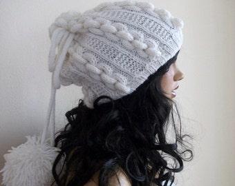 White Knitting Hat or cowl,scarf-Pon pon hat