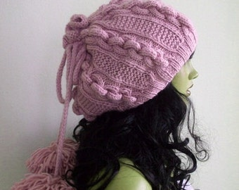 Soft Pink Knitting Hat or cowl,scarf-Pon pon hat