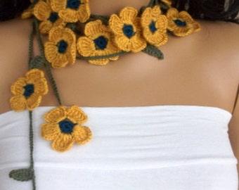 Mustard Yellow Daisy crochet  Lariat -beach birthday-Crochet Floral Lariat neck accessories-Spring Scarf - Spring Fashion - Crochet Scarf