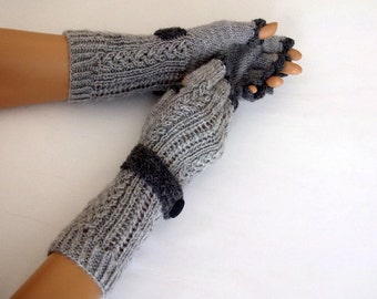Light Gray  Half Finger Gloves With a Strap-Fingerless Mittens Knit Arm Warmers Winter Hand Warmers Wrist Warmers