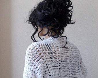 Elegant White Shrug-Knitting  Shrug - Any Season-White Bolero-New Item
