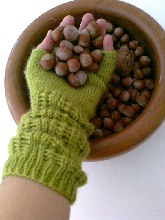 Green Half Finger- Fingerless Gloves-READY TO SHIP