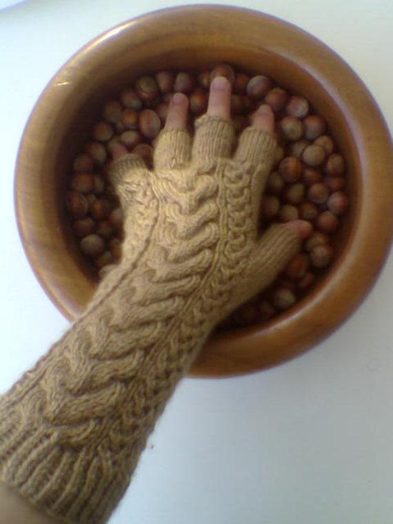 Brown - Chocolate Color Half Finger- Fingerless Gloves