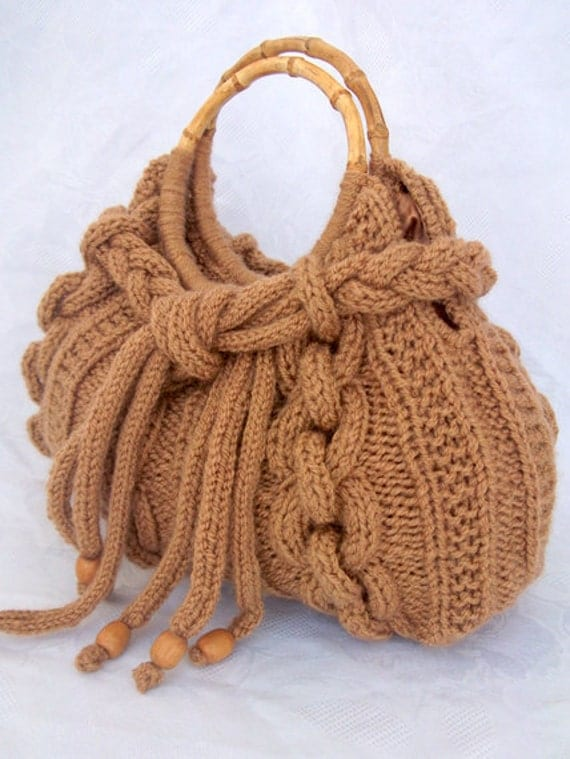 Hand Knit Camel Handbag