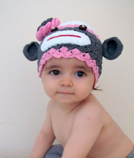 Cotton Sock Monkey Hat -crochet Baby  Hat  - for Baby or Toddler-Baby Girl Hat