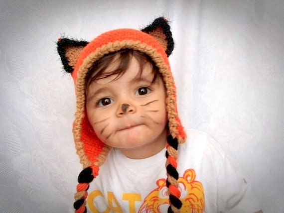 Crochet Fox Hat : Fox Hat -Crochet Baby Hat-Fox Hat with Earflaps - renard-for Baby or ...