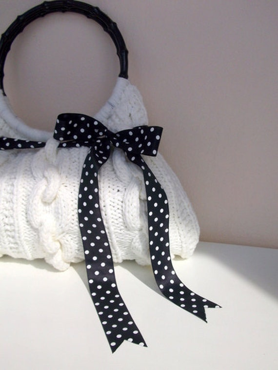 SALE SALE Hand Knit off white Handbag, ready to ship
