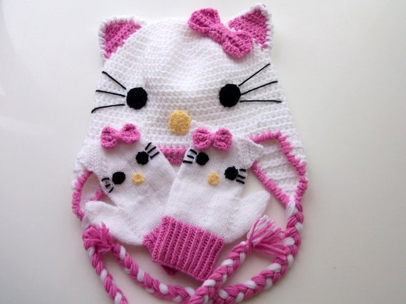 Crochet Kitty Hat and kitty gloves-for Baby or by myknittingworld