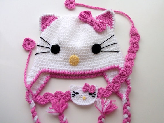 Crochet Kitty Hat and headband -Crochet Baby Hat - for Baby or Toddler ...