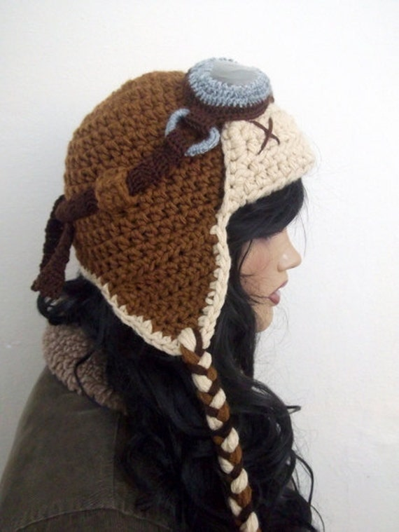 Free Crochet Pattern For Pilot Hat : Crochet Aviator Hat Set with Goggles tan and beige-Photo