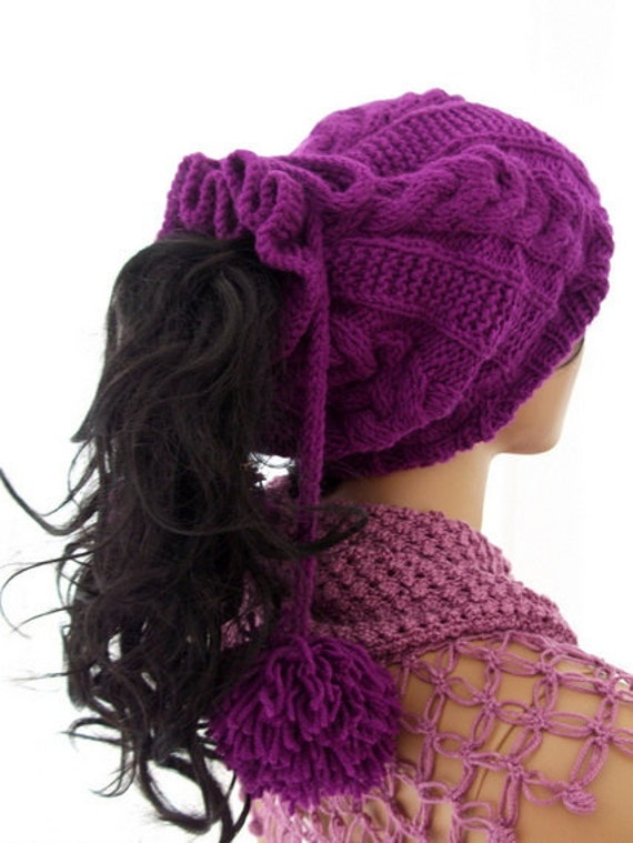 Purple Knitting Hat or cowl,scarf/Pon pon hat-Neck Warmer-Ready to ship