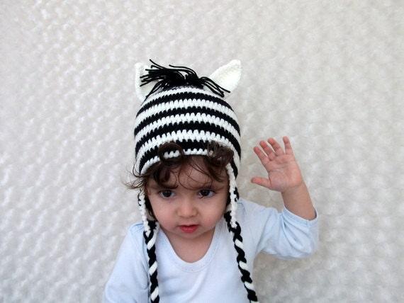 Crochet Zebra Hat with Ear Flaps - Photography Prop - for newborn or children-boy halloween costume