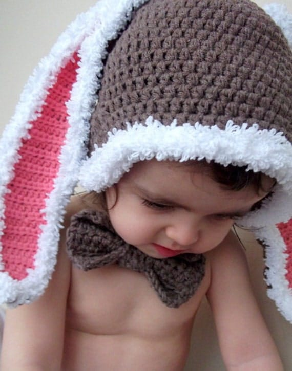 Baby Bunny Hat-Cotton Rabbit Hat-for photographers, photo prop for newborns-bow tie-Easter Rabbit Bunny Hat