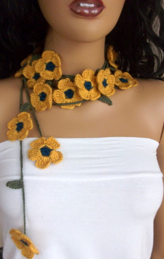 Mustard Yellow Daisy crochet  Lariat -beach birthday-Crochet Floral Lariat neck accessories-Spring Scarf - Spring Fashion - Crochet Scarf