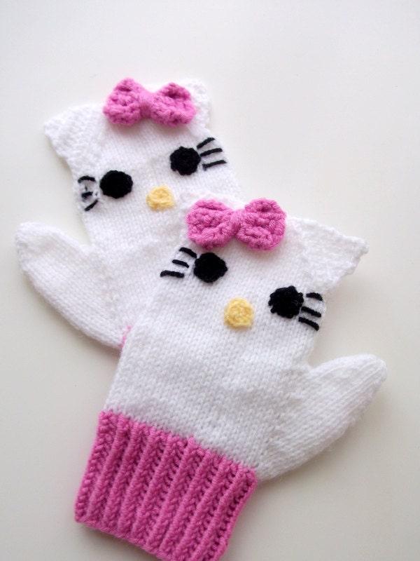 Hello Kitty Mittens Knitting Pattern : Knitting Kitty Mitten-Knitting Kitty gloves-for girl Baby or