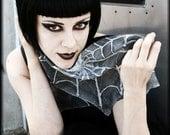 Gothic style silk scarf - silver spider web - alternative fashion