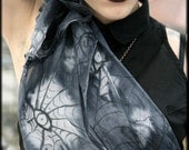 Purple macabre silk scarf - gothic eyes - halloween fashion