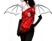 Skull top - silk blouse - gothic fashion