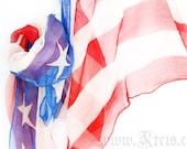 American flag scarf shawl - chiffon silk wrap