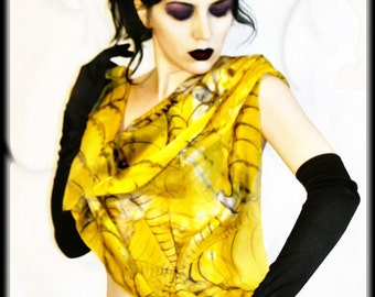 Hand painted silk scarf - yellow silk - punk rock fashion