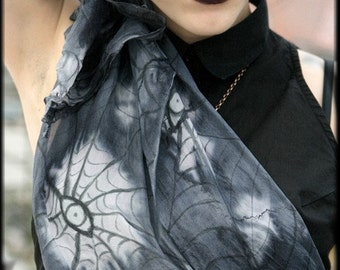 Spider Web Eyes Silk Scarf - Gothic Fashion