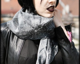 Noir silk scarf  with spiderweb - gothic fashion