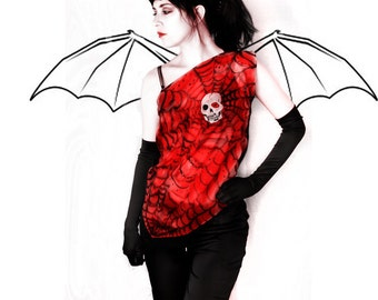 Skull top - silk blouse - gothic fashion
