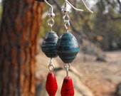 Earrings - Teal and Red Fair Trade Beads
