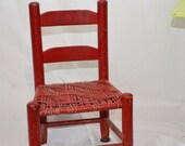 Childs Vintage Chair Red Reed Seat Shabby Adorable Seating