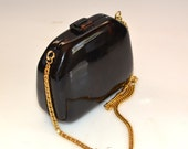Celluloid Hard Plastic Clutch Purse, Vintage Faux Tortoiseshell with gold tone chain, chick, classic, retro