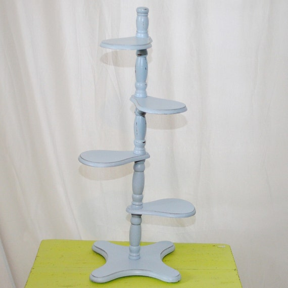 Powder blue, Robin Egg Blue 4 Shelf Plant Stand Distressed