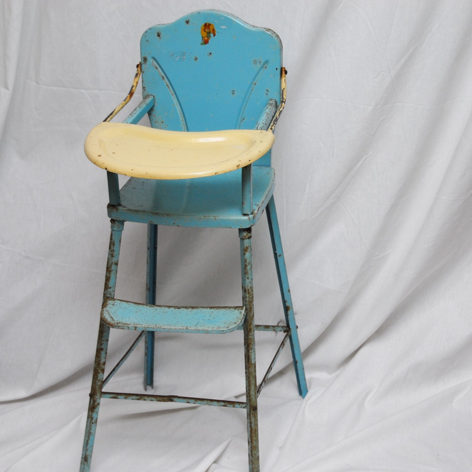 Retro 1950 S Baby Doll Toy High Chair Blue And White