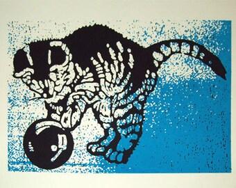 Kitten (Blue) art print