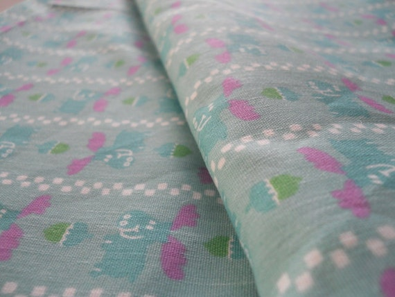 Pink and Blue Moose Fabric with Acorns 3 yards