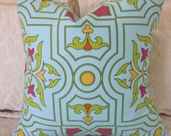 Pillow, Decorative Throw Pillow Cover, Designer Aqua Fleur-de-Lis Pillow Cover 18 x 18,  20 x 20