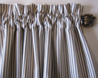 Curtain, Valance, Cafe, Window Curtain, Blue Woven Cotton Ticking Stripe Curtain Valance or Cafe 50 x 16, 24, 36, 48
