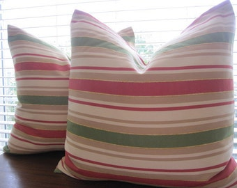 Pillow, Decorative Throw Pillow Cover, Chenille Accent Coral Stripe Pillow Cover 20 x 20