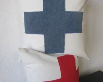 Pillow, Decorative Throw Pillow Cover, Off White and Blue Swiss Cross Pillow Cover 20 x 20
