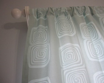 2 Curtains, Drapes, Window Curtains, Set of 2 Aqua Squares Curtain Panels 50 x 63, 72, 84