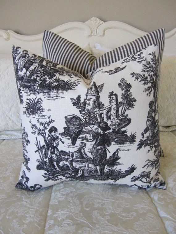 SALE...2 Pillows, Decorative Throw Pillow Covers, Set of 2 Designer Black and Ivory Country Life Toile Pillow Covers 14 x 14